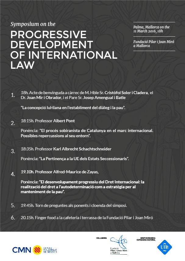 Cartell del simpòsium sobre desenvolupament progressiu del Dret Internacional